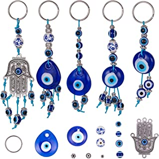 SUNNYCLUE DIY 5PCS Evil Eye Keychain Making Kit Include Split Key Chain Rings,Evil Eye Beads,Hamsa Hand Charm Connector, Assorted Beads, Spacer Beads, Waxed Cotton Thread