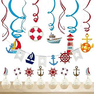 Decoraci/ón n/áutica de la Fiesta de cumplea/ños de Ahoy Suministros de cumplea/ños Platos Vasos Servilletas Pl/ástico Globos Gratis Velas para 16 Personas