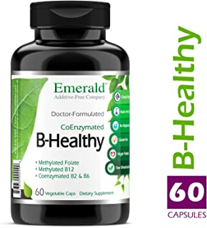 B Healthy - with L-5 Methyltetrahydrofolate (5-MTHF) Coenzymated Folic Acid - Helps Improve Energy, Lower Stress, Fatigue, & Healthy Immune System - Emerald Labs - 60 Vegetable Capsules