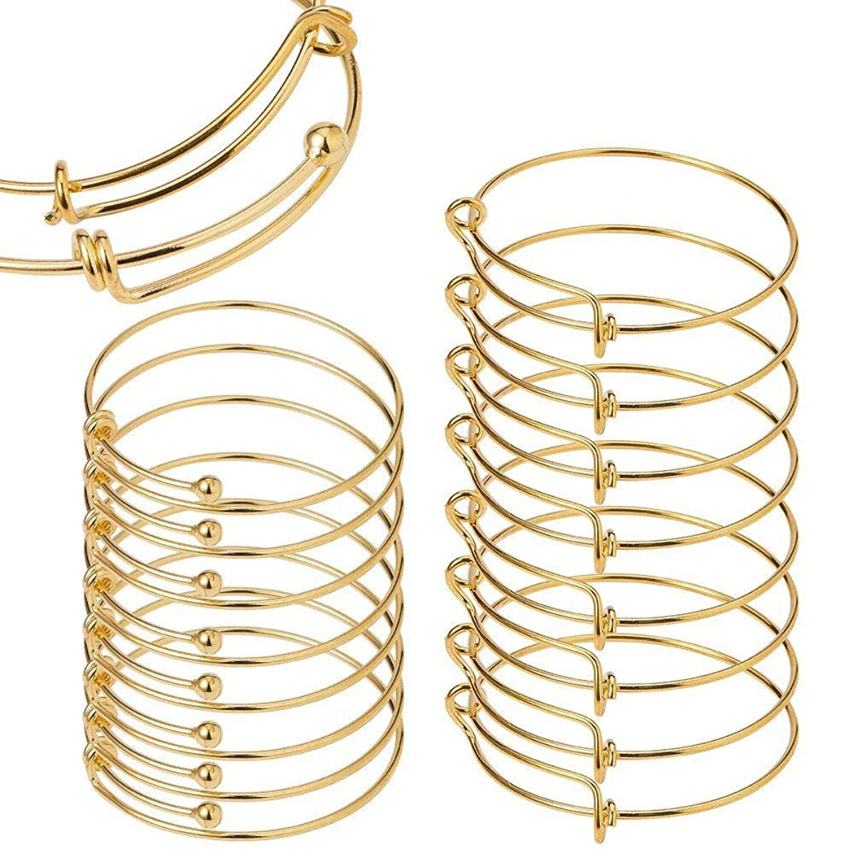 BENECREAT 16PCS/Set Adjustable Wire Blank Bracelet Expandable Bangle for DIY Jewelry Making, 2.5 Inch, 2.6 Inch - Golden