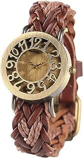 Women Vintage Watch, Soft Braided Leather Band, Retro Hollow Style Women Wristwatch