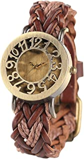 Women Vintage Watch, Soft Braided Leather Band, Retro Hollow Style Women Wristwatch