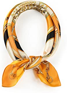 100% Small Square Pure Mulberry Silk Scarf -21'' x 21''- Breathable Lightweight Neckerchief -Digital Printed Headscarf