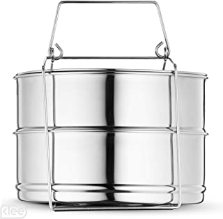 Klee Utensils 3-Piece Stackable Stainless Steel Pressure Cooker Insert Pans with Lid