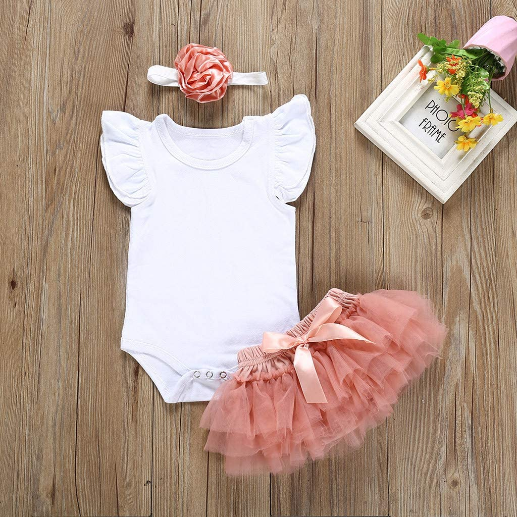 for 0-24 Months Toddler Baby Girls Solid Fly Sleeve Romper Bodysuit+Tulle Tutu Skirt+Headband 3pc Outfit Set