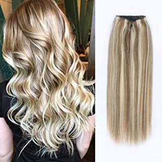 ABH AmazingBeauty Hair Halo Hair Extensions - Invisible Miracle Wire Remy Human Hair, Ash Brown with Platinum Blonde Highlights P8-60, 20 Inch