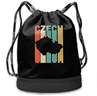 Retro Style Czech Republic Silhouette Drawstring Bag For Mens And Womens, 100% Polyester Athletic Handbags