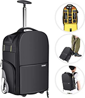 Neewer 2-in-1 Wheeled Camera Backpack Luggage Trolley Case - Anti-Shock Detachable Padded Compartment, Hidden Pull Bar and Strap, Durable, Waterproof for Camera, Tripod, Lens for Air Travelling