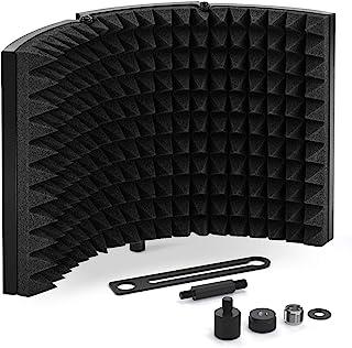 TONOR Microphone Isolation Shield, Studio Mic Sound Absorbing Foam Reflector for Any Condenser Microphone Recording Equipment Studio, Black