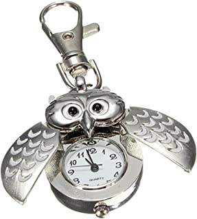 ODETOJOY Silver Flip Open Owl Keychain Watch Pendants Ornament For Handbags Or Schoole Pack Christmas Thank You Gift Cool Key Holders Lanyards Fobs