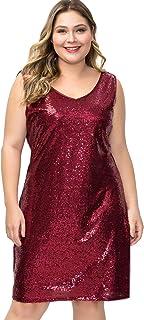 LLmansha فساتين ترتر كبيرة الحجم للنساء لامعة رقبة على شكل حرف V بدون أكمام كوكتيل ضيق فستان سهرة للحفلات 16W-35W أحمر النبيذ