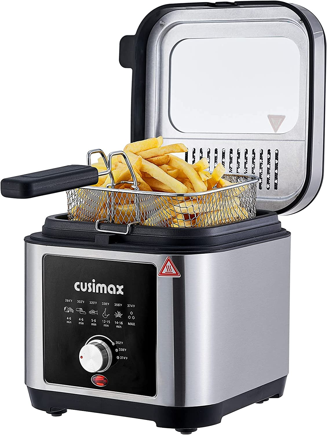 Deep Fryer CUSIMAX Electric Deep Fryer with Basket and Drip Hook, 2.6Qt Oil Capacity Fryer with Temperature Control, Removable Lid with View Window and Filter, Stainless Steel fryers, 1200W