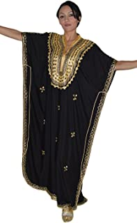 Moroccan Caftan Hand Made Top Quality Breathable Cotton with Gold Hand Embroidery Long Lenght Black