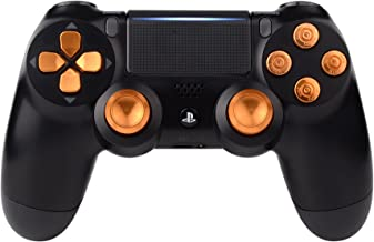 eXtremeRate Metal Gold Thumbsticks & Bullet Buttons & D-pad Replacements Kits for Playstation 4/PS4 Slim/PS4 Pro Controller