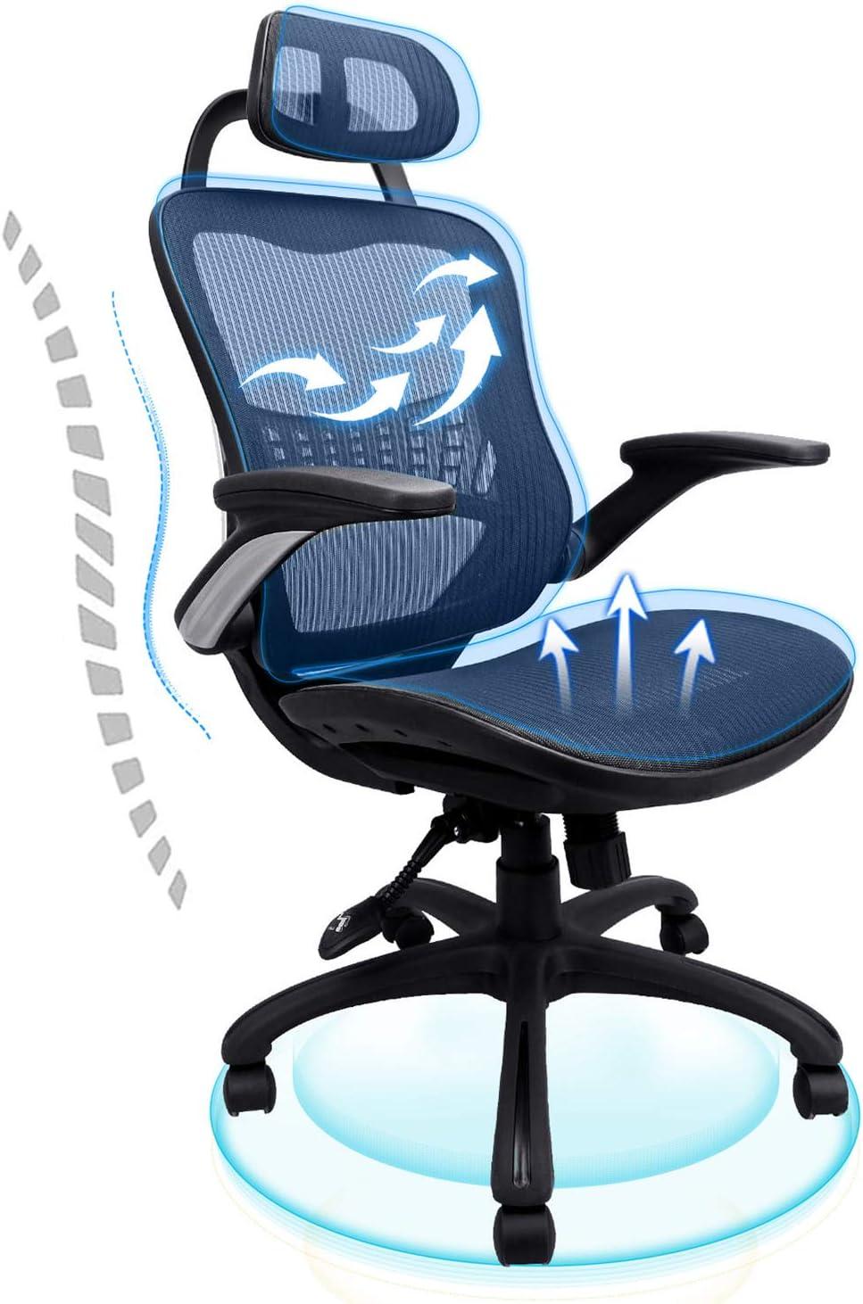Office Chair Ergonomic Desk Komene Back Max 73% OFF Adjustable High Long Beach Mall He