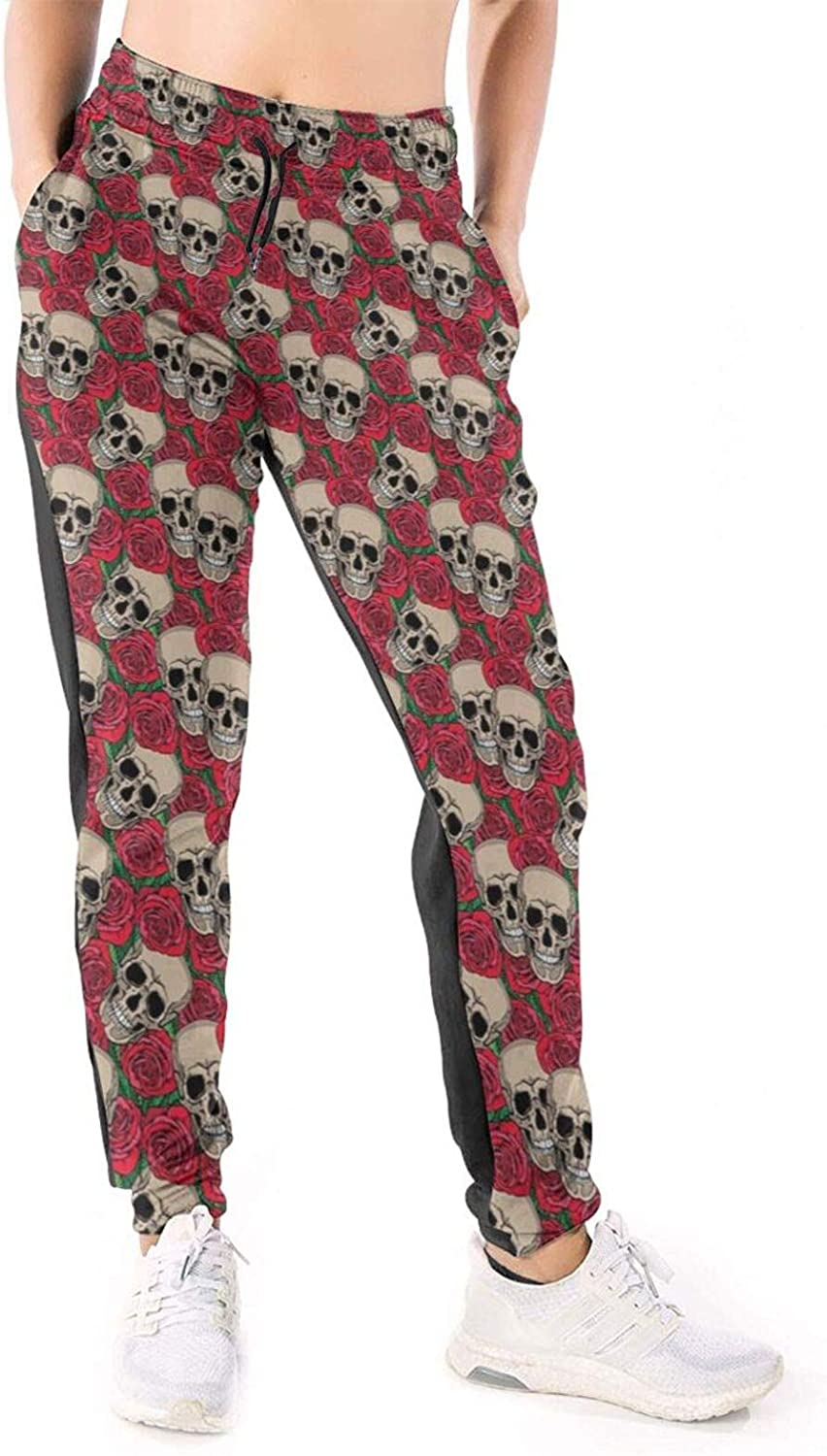 LONEA Women Joggers Pants Skulls and Red Rose Athletic Sweatpants with Pockets Casual Trousers Baggy