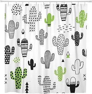 ArtSocket Shower Curtain Pattern Cute Cactus Desert Hipster Summer Scandinavian Succulent Geometric Home Bathroom Decor Polyester Fabric Waterproof 72 x 72 Inches Set with Hooks