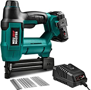 Cordless Brad Nailer, NEU MASTER NTC0023 Rechargeable Nail Gun/Staple Gun for Upholstery, Carpentry and Woodworking Projec...