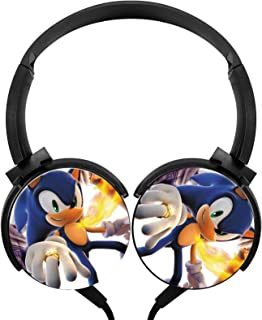 Men's/Adults Kids Sonic Foldable Headphones Over Ear Headset Wired Headphones Noise Cancelling Earphone Call Controller He... photo