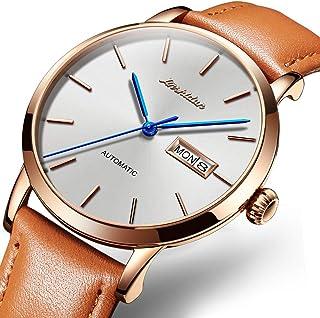 JSDUN - Reloj mecánico para hombre (ultrafino, resistente al agua, correa de acero inoxidable), color dorado