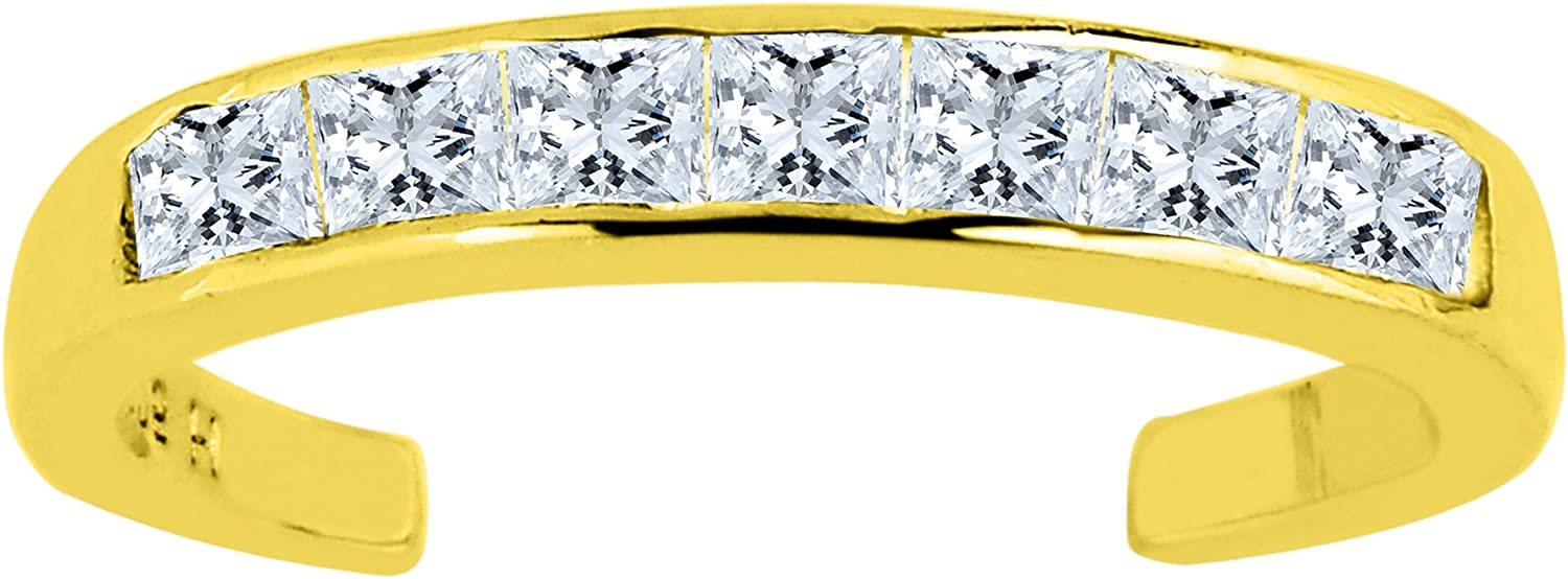 14K Yellow Gold CZ Stones Channel Set Cuff Style Adjustable Toe Ring 3mm
