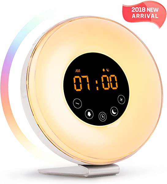 Sunrise Alarm Clock Wake Up Light LED Clock With Sunrise Simulation And Sunset Fading Night Light 6 Natural Sounds FM Radio 7 Colors Switch 10 Brightness Levels Snooze Function For Heavy Sleepers