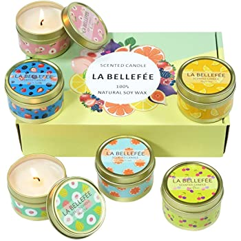 LA BELLEFÉE Scented Candles,Aromatherapy Candles,Fruity Fragrance, Party Candles,Holidays Gift Set, Natural Soy Wax Candles,for Spa, Bath, Yoga(6x2.5oz)