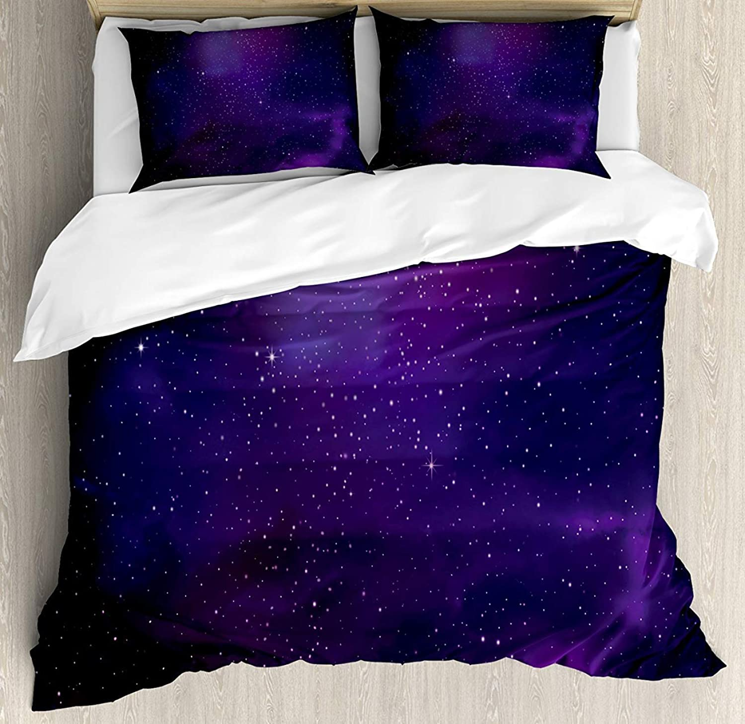 Sky 4pcs Bed Set Galaxy Nebula Illustration Deep Space Star Clusters and Constellation Milky Way Bedding Sets Duvet Cover Flat Sheet No Comforter with Decorative Pillow Shams for Kids Adults Teens