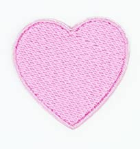 HHO Solid Pink Heart Patch Embroidered DIY Patches, Cute Applique Sew Iron on Kids Craft Patch for Bags Jackets Jeans Clothes