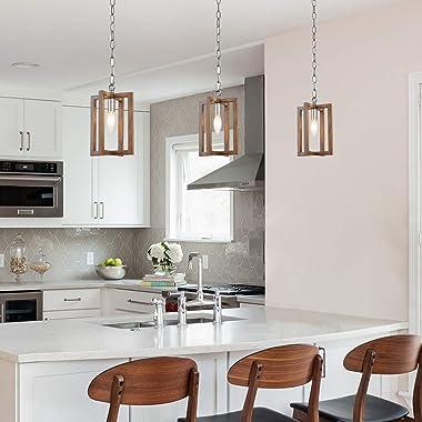 "LOG BARN Farmhouse Pendant Lighting for Kitchen Island, Wood Rustic Pendant Light for Dining Room, Foyer, 6.5"" W"
