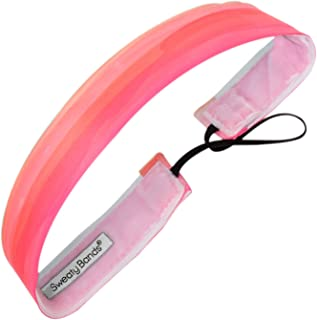 Sweaty Bands Womens and Girl Headband - Non-Slip Velvet-Lined Exercise Hairband - Watercolors Pink 1-Inch