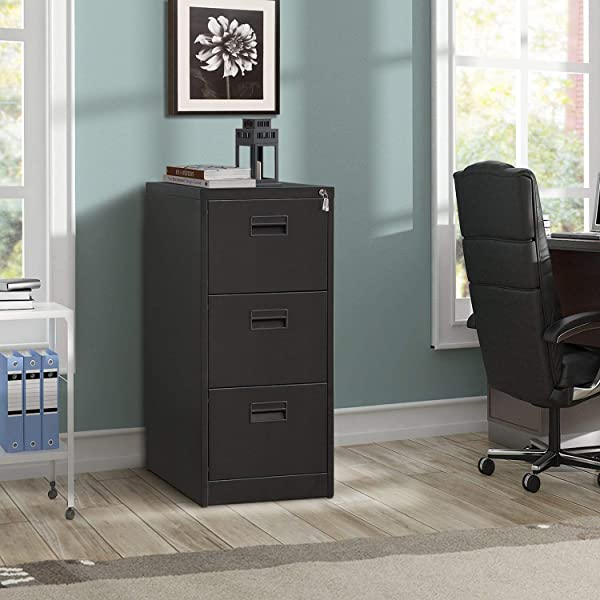 ModernLuxe Metal Lateral File Cabinet Steel Vertical Lockable Filing Cabinet 3 Drawer With Locks Black 18W 24 4D 40 3H