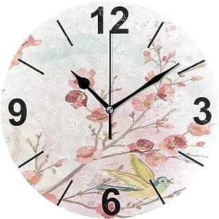 Janhe Horloge Murale Ronde Oiseau Fleur Arbre Nature 10 Pouce Diamètre Silencieux Décoratif pour la Cuisine De Bureau À Do...