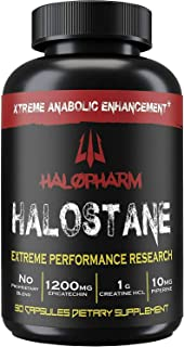 Halopharm Halostane - Elite Natural Anabolic Muscle Builder, 30 Day Supply, with 1200mg Epicatechin, Creati...