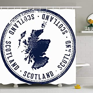 Ahawoso Shower Curtain Set with Hooks 66x72 Grunge Dirty Vintage Rubber Europe Scotland Kingdom United Symbol Country Stamp Miscellaneous UK Waterproof Polyester Fabric Bath Decor for Bathroom