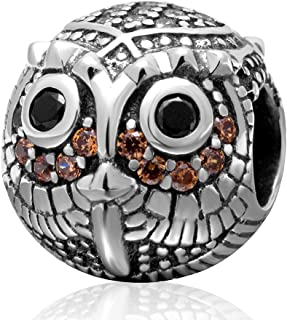 Night Owl Charm Original 100% Authentic 925 Sterling Silver Lucky Bird Beads Charm fit for DIY Charms Bracelets