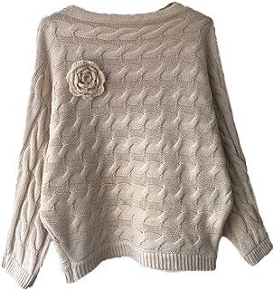 Honghu Casual Flojo Manga Larga Cuello Redondo Corta Suéter para Mujer Basic Ocio Punto Sweater