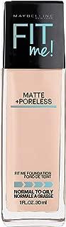 Maybelline Fit Me Matte + Poreless Liquid Foundation Makeup, Fair Ivory, 1 fl. oz. Oil-Free Foundation