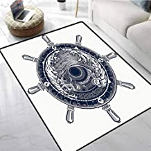 Adventure Outdoor Rugs for patios Sea Compass and Storm Tattoo Design in Celtic Style Tsunami Waves and Wheel Anti-Slip Coffee Table Floor Mats 80 x 96 Inch
