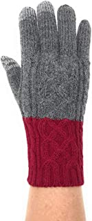 Alpaca & Acrylic, Women's Winter Gloves, Cable Pattern, Two-Tone Color Block with Conductive Touchscreen Texting Capability