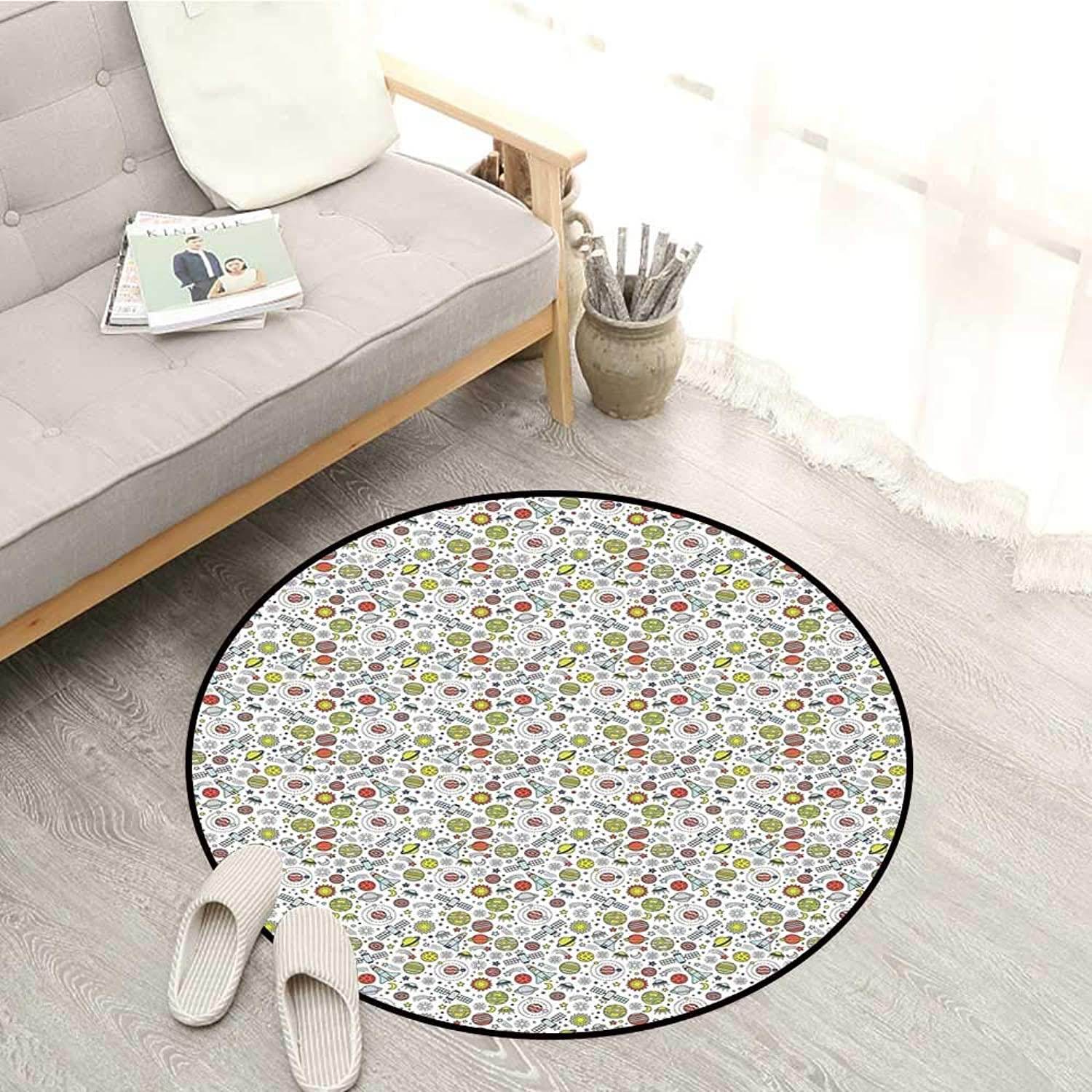Spaceship Skid-Resistant Rugs colorful Design of Cosmos with Orbiting Moons Doodle Style Rockets and Satellites Sofa Coffee Table Mat 4'7  Multicolor