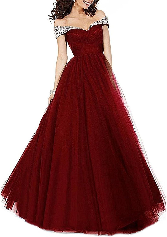 Ellystar Women's Off The Shoulder Beaded Zipper Sleeveless ALine Formal Dresses