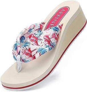 AFFINEST Tongs Femmes été Cuir Sandales Plage Piscine Chaussures Légères Confort Doux Classique Flip Flop Antidérapante Ad...