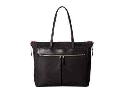 KNOMO London Mayfair Grosvenor Place Expandable Top Zip Tote (Black) Tote Handbags