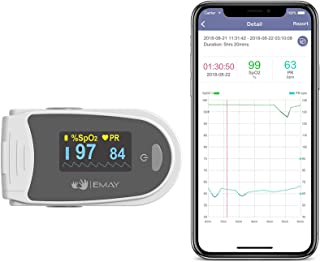 EMAY Sleep Oxygen Monitor with App for iPhone & Android | Track Overnight & Continuous Blood Oxygen Saturation Level & Hea...