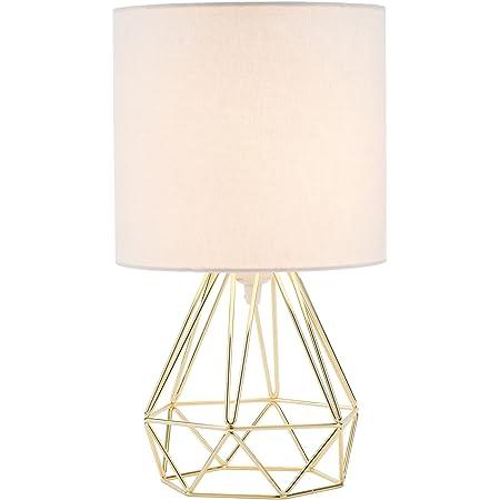 Valens Lampe de Chevet, Lampe de Table avec Pied Géométrique et Tambour en Tissu Blanc, Lampe de Table de Nuit, Lampe à Poser avec Abat-Jout d'Effet Cuivre Brossé (Doré)