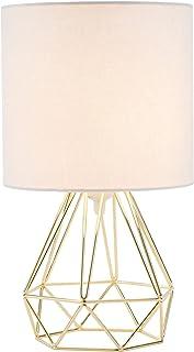 Valens 1PC Lámpara de Mesa Diamante E27 Lampara para Mesillas de Noche Lámpara de Mesa en Forma de Diamante Mini Lámpara de Mesa Vintage (Dorado, 1 pc)
