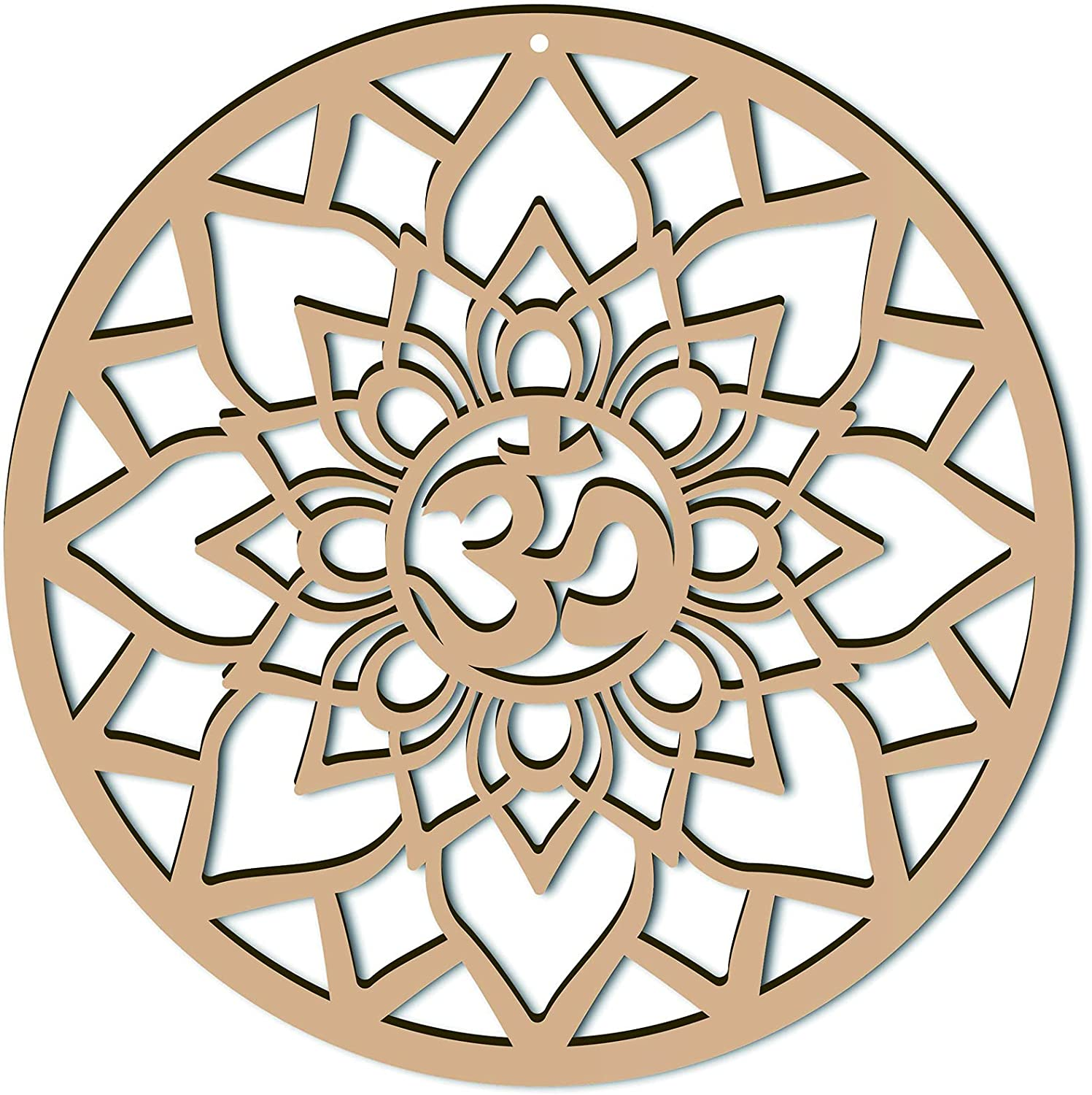 CREATCABIN 12inch Om Lotus Wall Decor Wooden Wall Art Crystal Grid Sacred Geometry Laser Cut Wall Sculpture Hanging Decor Spiritual Symbol Round for Housewarming Home Office Yoga Studio Decoration