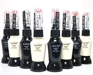 SANTEE 4 WHITE + 4 BLACK COLOR NAIL ART PEN BRUSH DECORATION POLISH + FREE EARRING