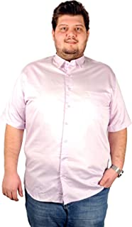 Mode XL Büyük Beden Erkek Kısa Kol Klasik Gömlek Lila 1002LİL (3XL-10XL)
